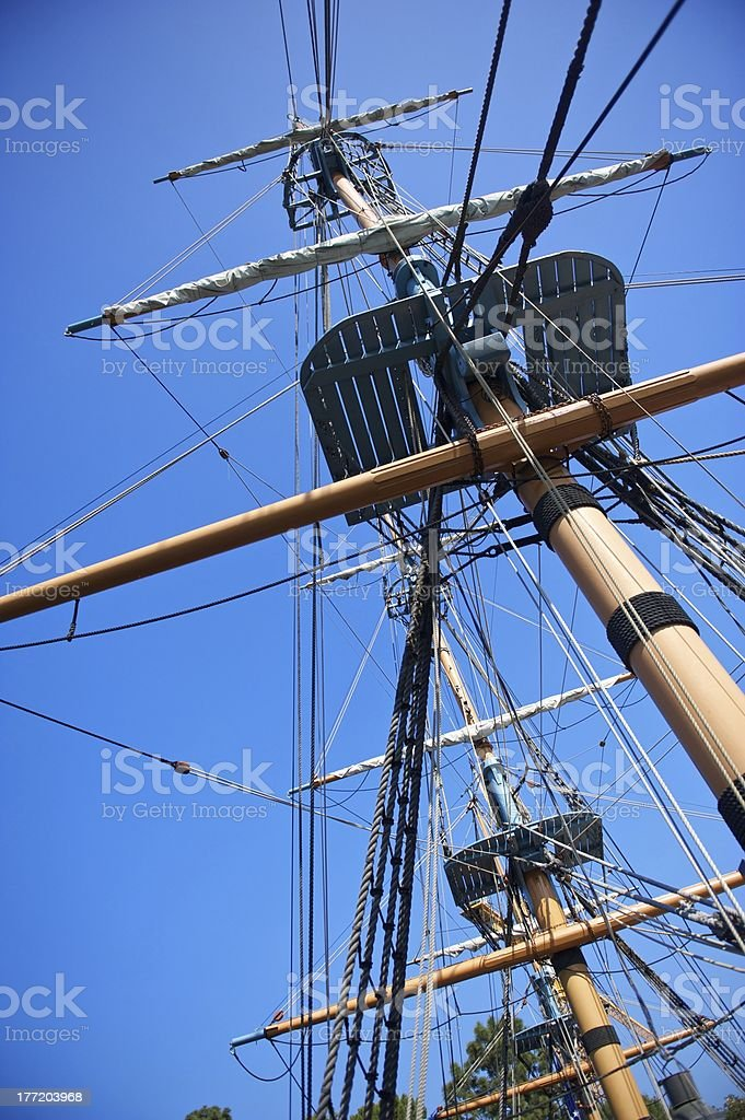 Sailing Ship Rigging and Blue Sky royalty-free stock photo