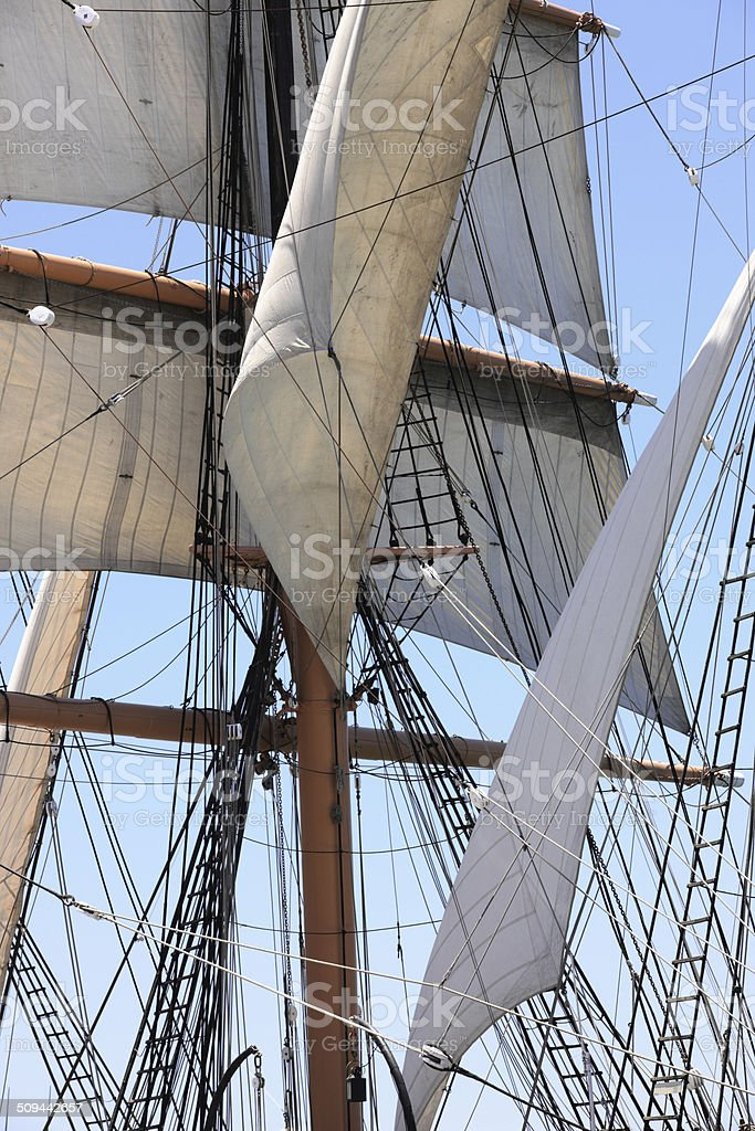 Sailing Ship Rigging Masts Sails stock photo