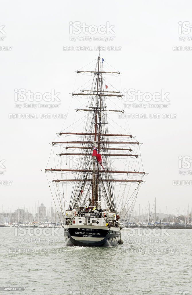 Sailing ship turning in Portsmouth Harbour stock photo