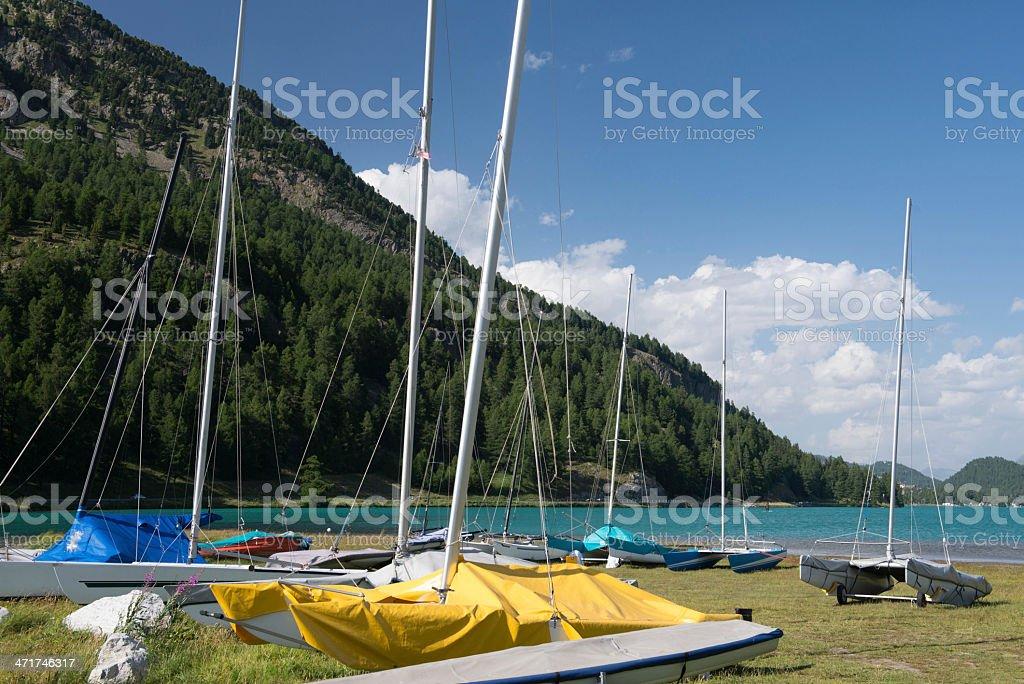 sailing ships Lake Silvaplana stock photo