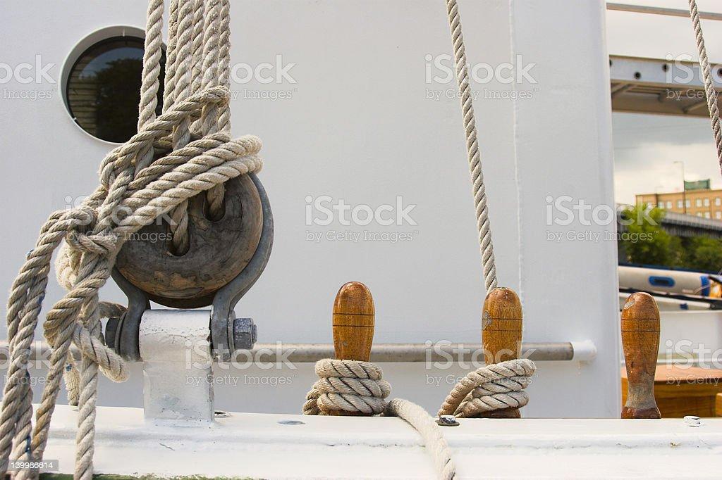 Sailing ship's rigging royalty-free stock photo