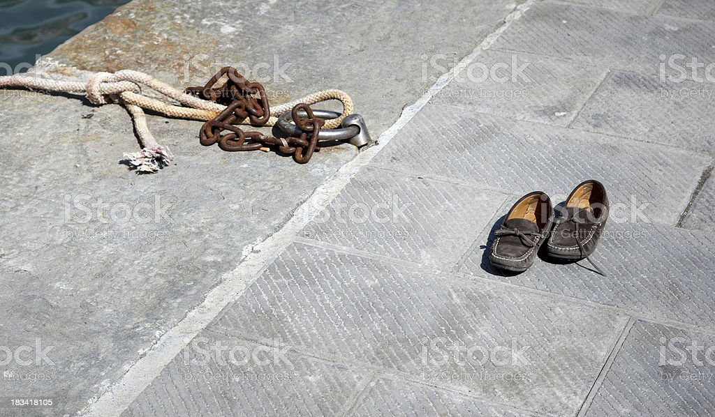Sailing shoes at the harbour royalty-free stock photo