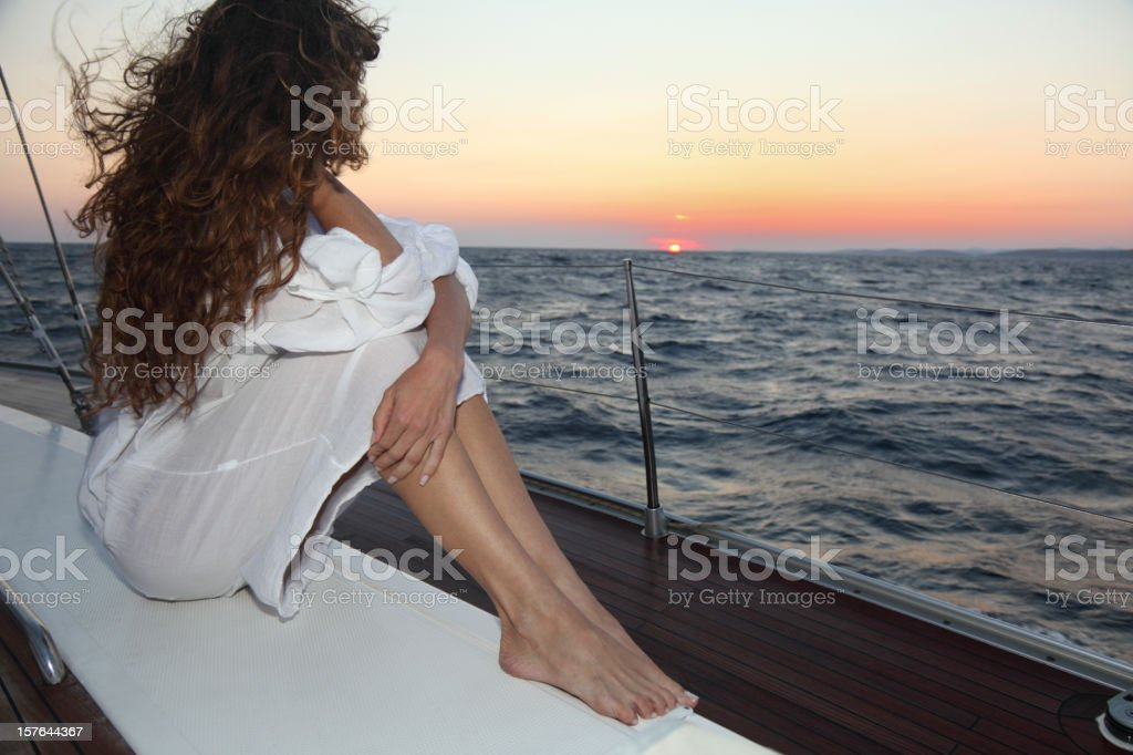 Sailing sunset royalty-free stock photo