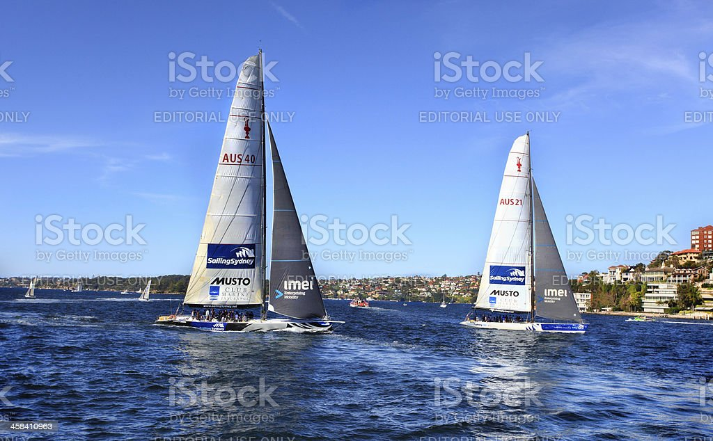 Sailing Sydney on America's Cup Yachts royalty-free stock photo