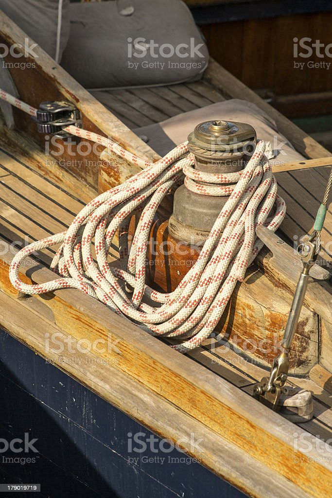 Sailing Tackle On A Yacht royalty-free stock photo