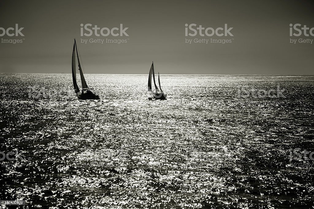 sailing the pacific stock photo
