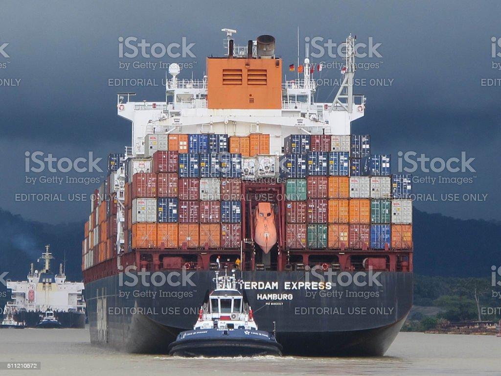 Sailing the Panama Canal stock photo