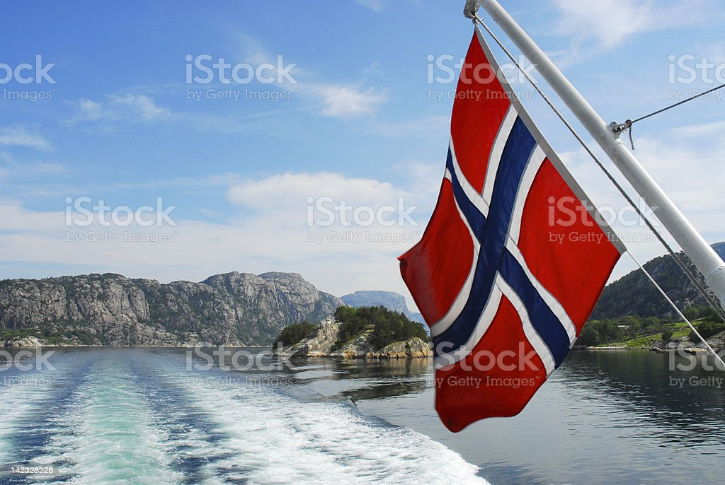 Sailing through Norway stock photo