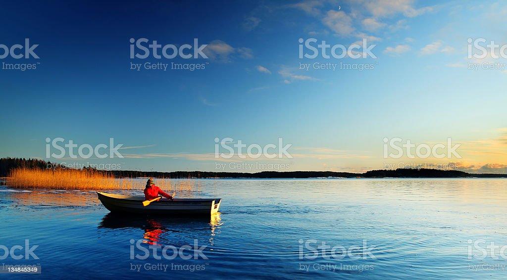 Sailing through silence stock photo