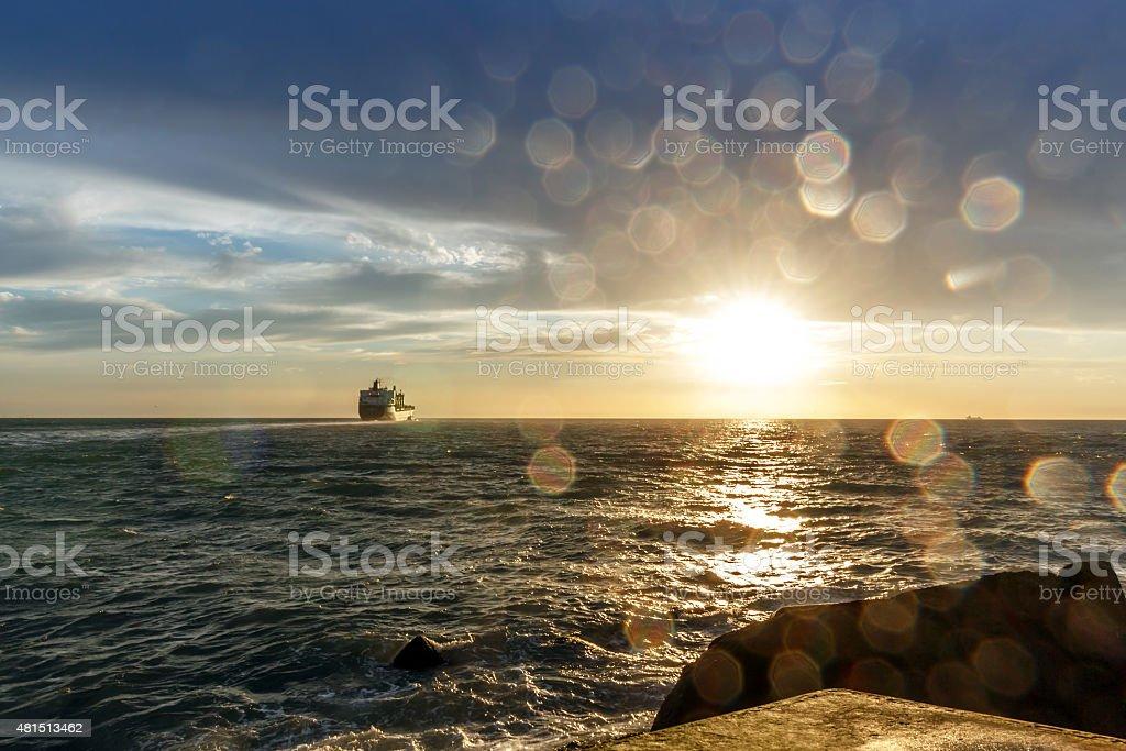 Sailing to the horizon stock photo