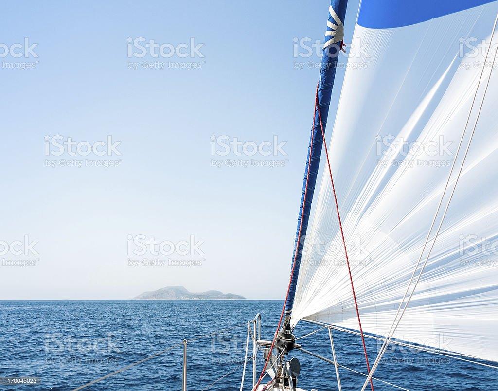 Sailing towards the promised land stock photo