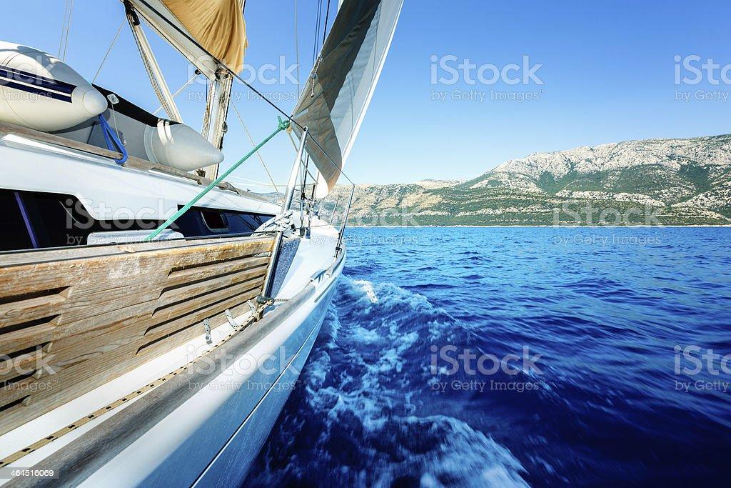 Sailing with sailboat royalty-free stock photo