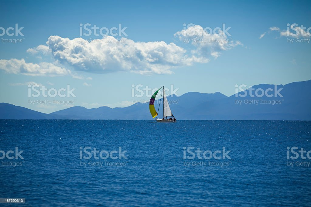 Sailing with sailboat stock photo