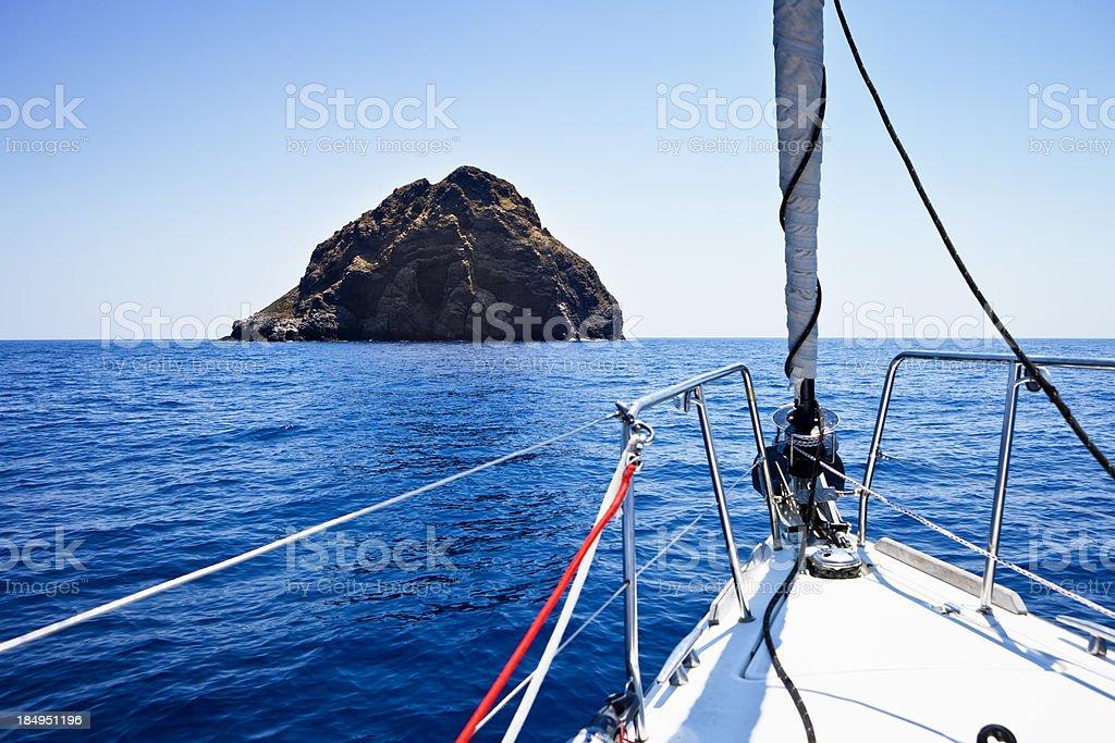 Sailing with sailboat towards island Jabuka stock photo