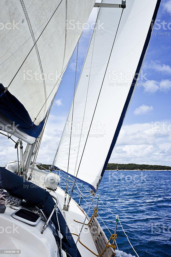 Sailing with sailiboat stock photo