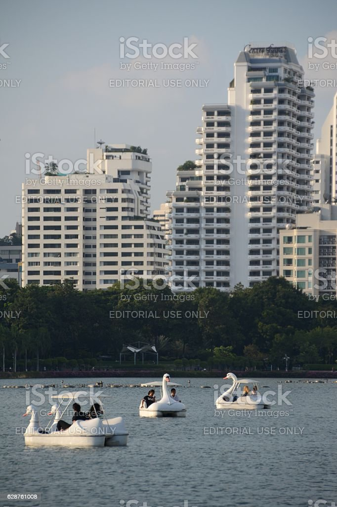 Sailing with swan boats on Lake Ratchada, Benjakitti park, Bangkok stock photo
