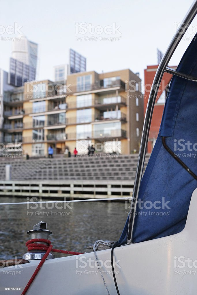 Sailing yacht and buildings stock photo