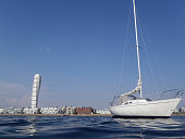 Sailing yacht and Malmo Sweden