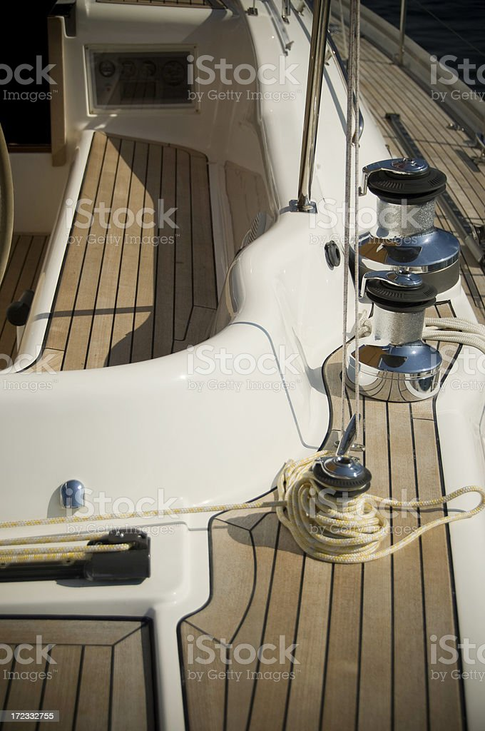 sailing yacht deck stock photo