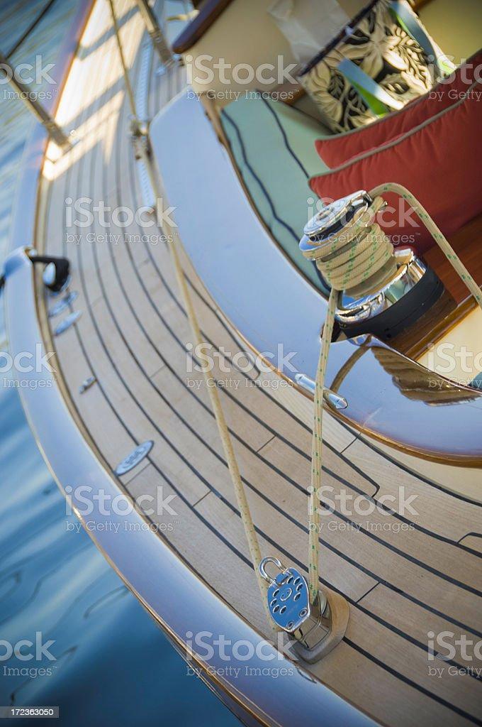 sailing yacht deck royalty-free stock photo