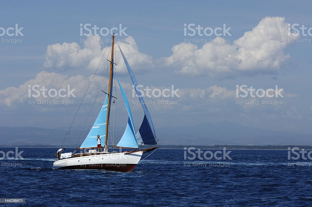 Sailing yacht in the wind royalty-free stock photo