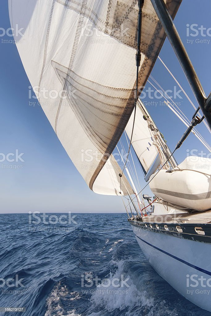 Sailing yacht on the race royalty-free stock photo