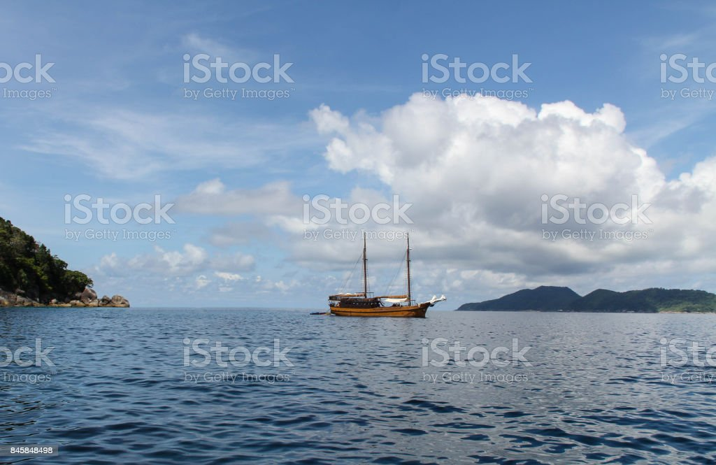 A sailing yacht. stock photo