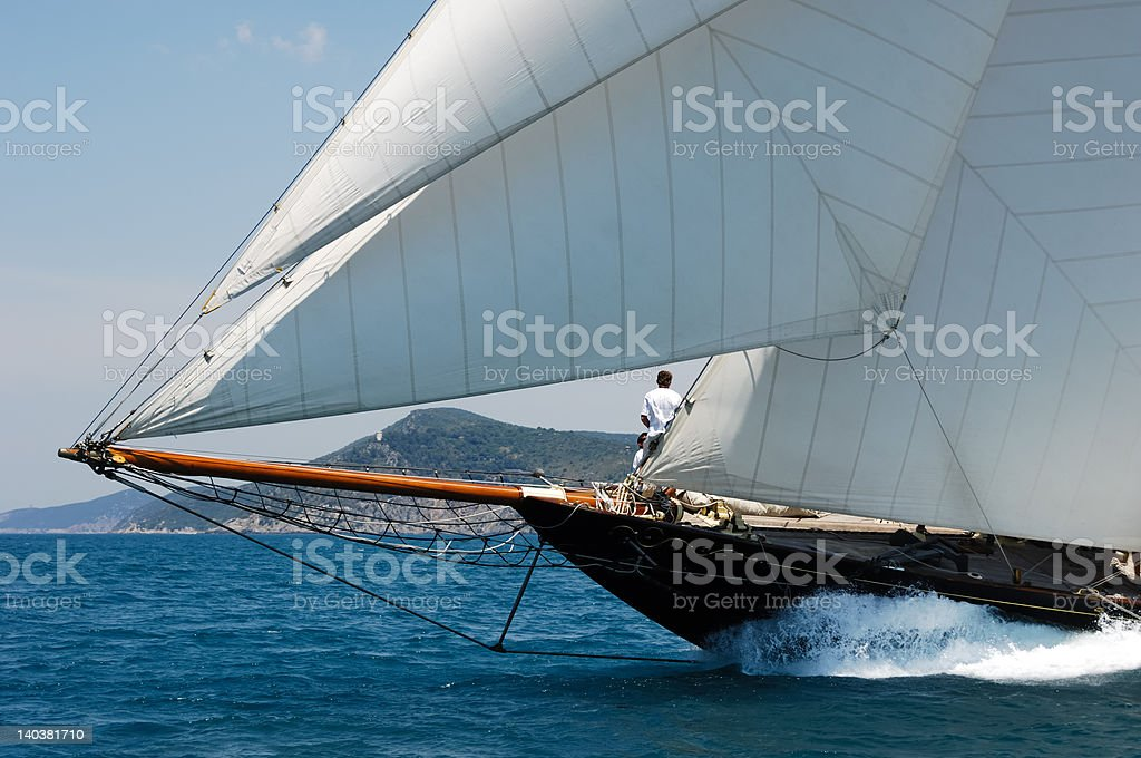 Sailing yacht prow in the wind royalty-free stock photo