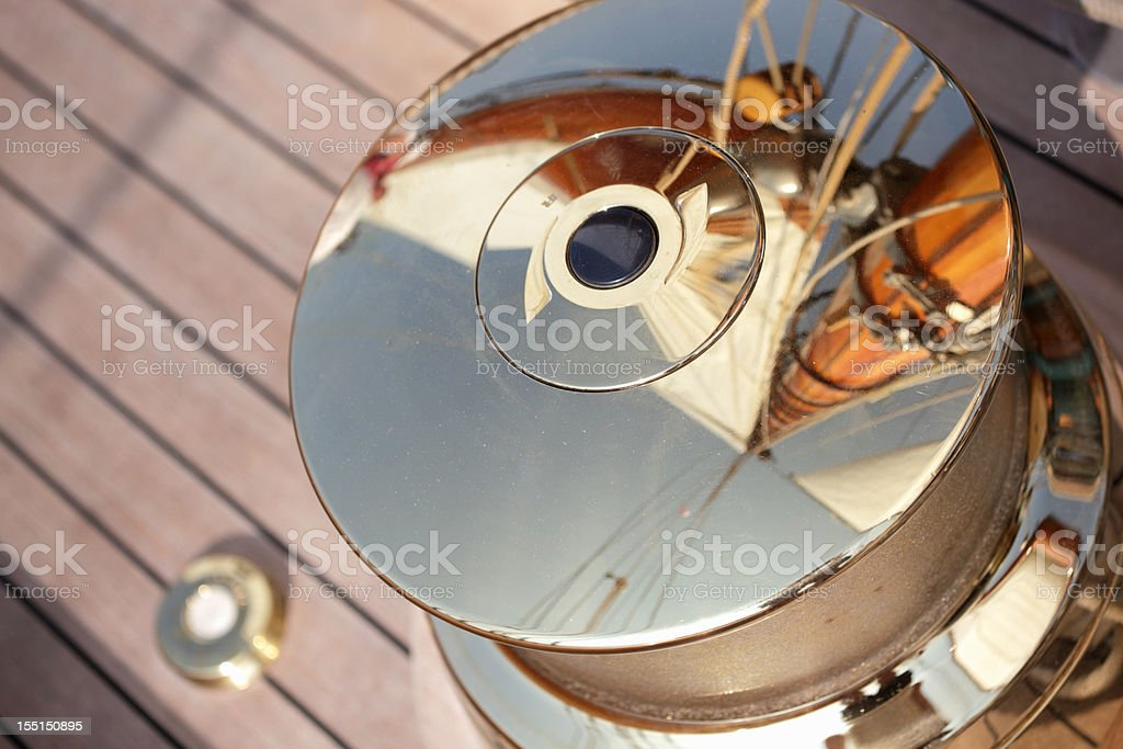 Sailing yacht winch stock photo