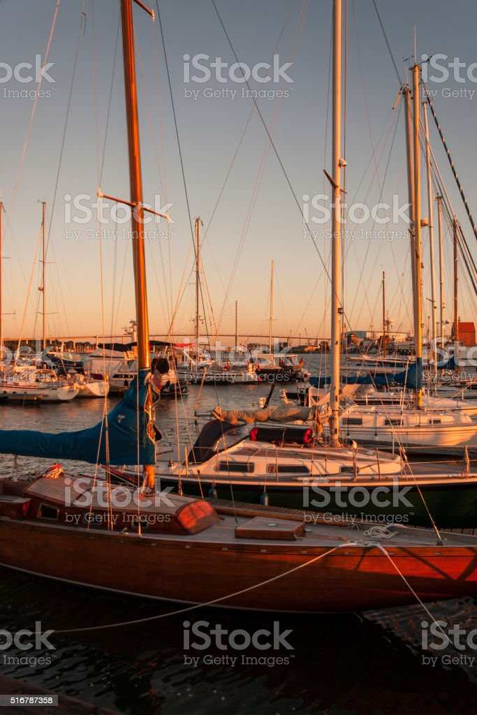 Sailingboats in the harbor of Stralsund stock photo