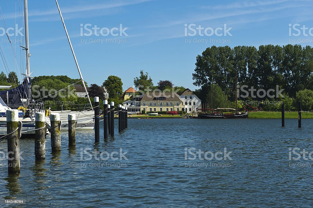 Sailingboot at Schlei River stock photo