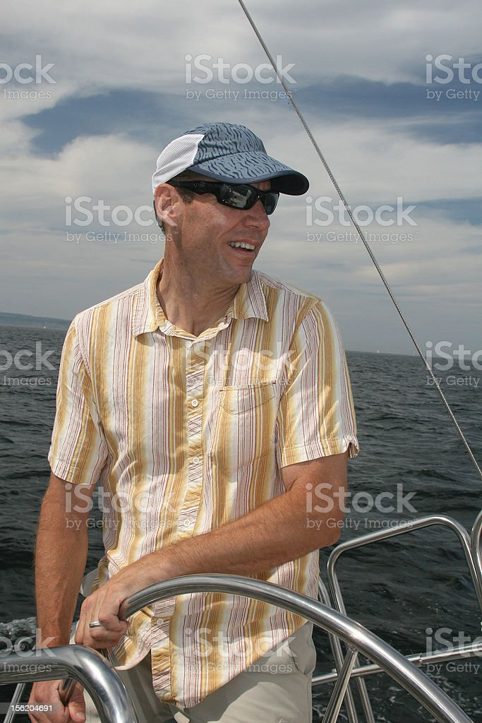 Sailor at the Helm royalty-free stock photo