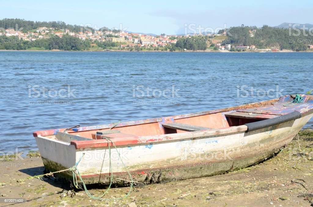 Sailor boat in Combarro stock photo