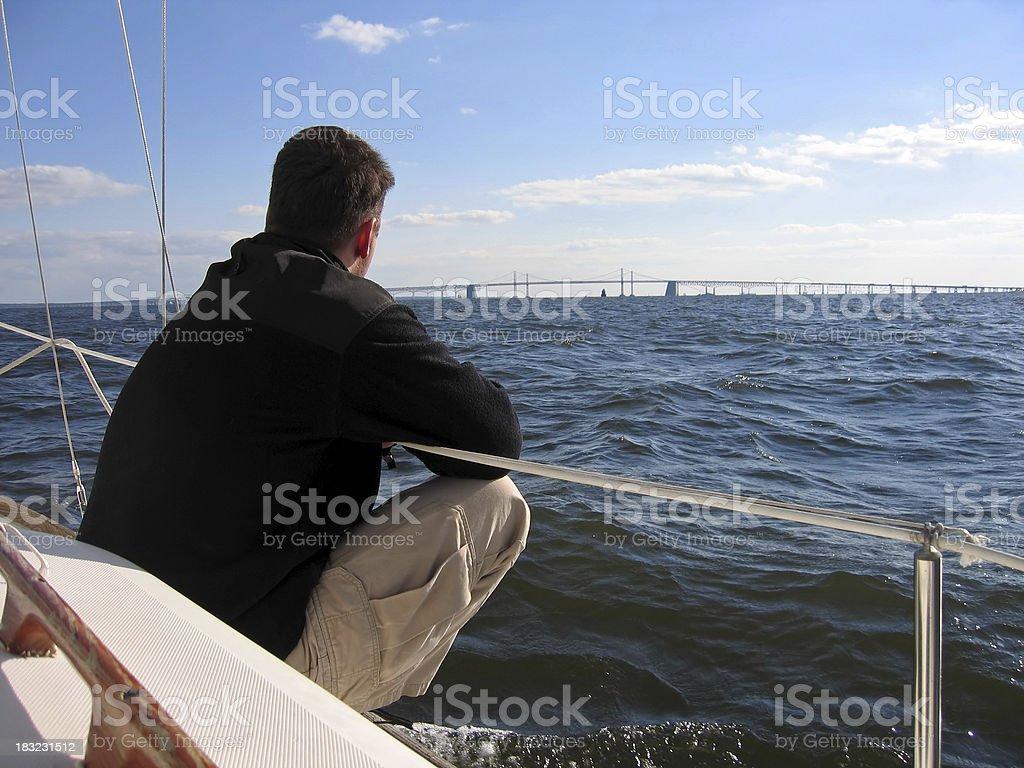 Sailor Enjoying View to the Bridge royalty-free stock photo