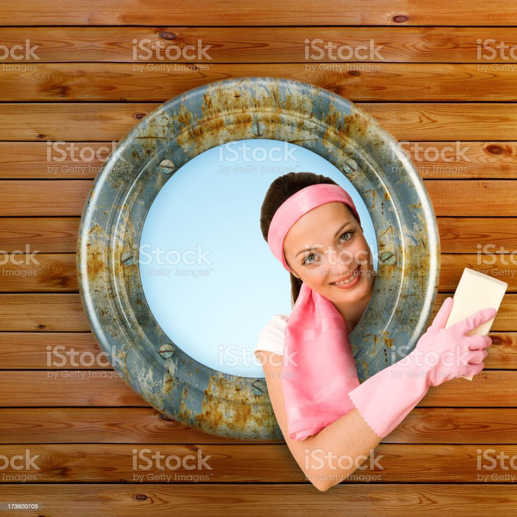 Sailor Girl cleaning boat royalty-free stock photo