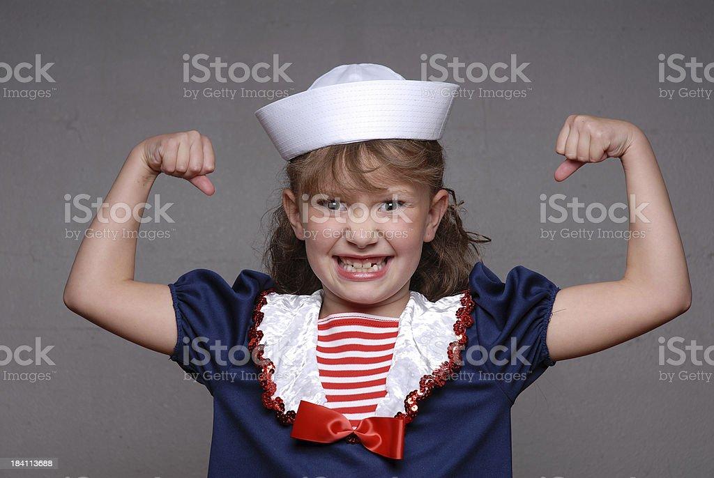 Sailor Girl Muscles stock photo