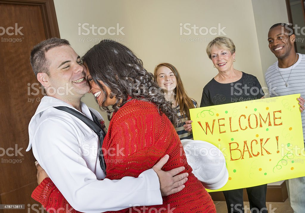 Sailor is happy to be home royalty-free stock photo