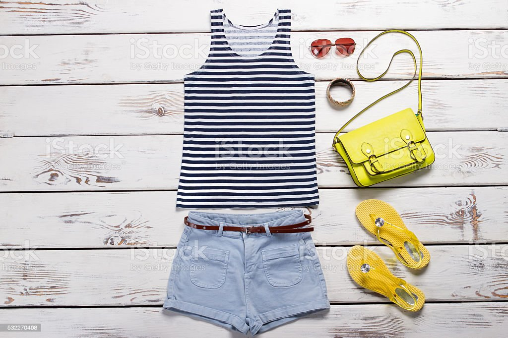 Sailor suit, blue shorts and accessories. stock photo