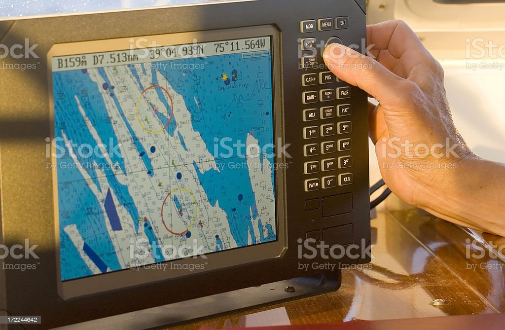 Sailor uses radar royalty-free stock photo