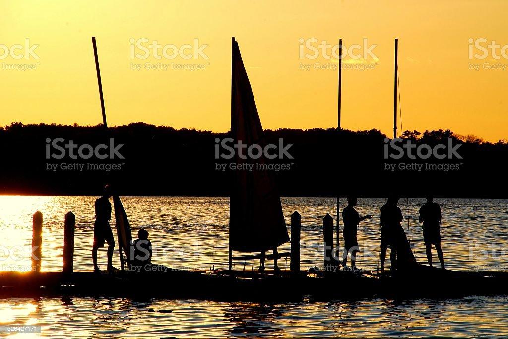 Sailors Enjoy the Sunset on Lake Mendota stock photo