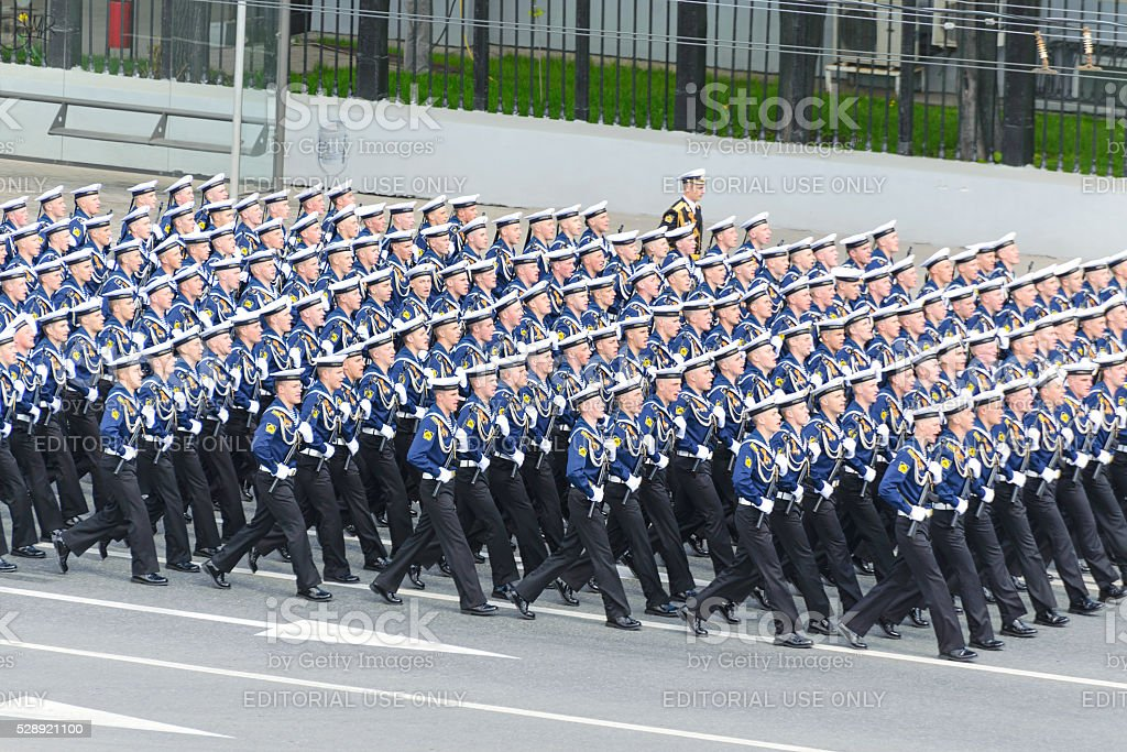 Sailors marching formation for Moskvoretskaya waterfront stock photo