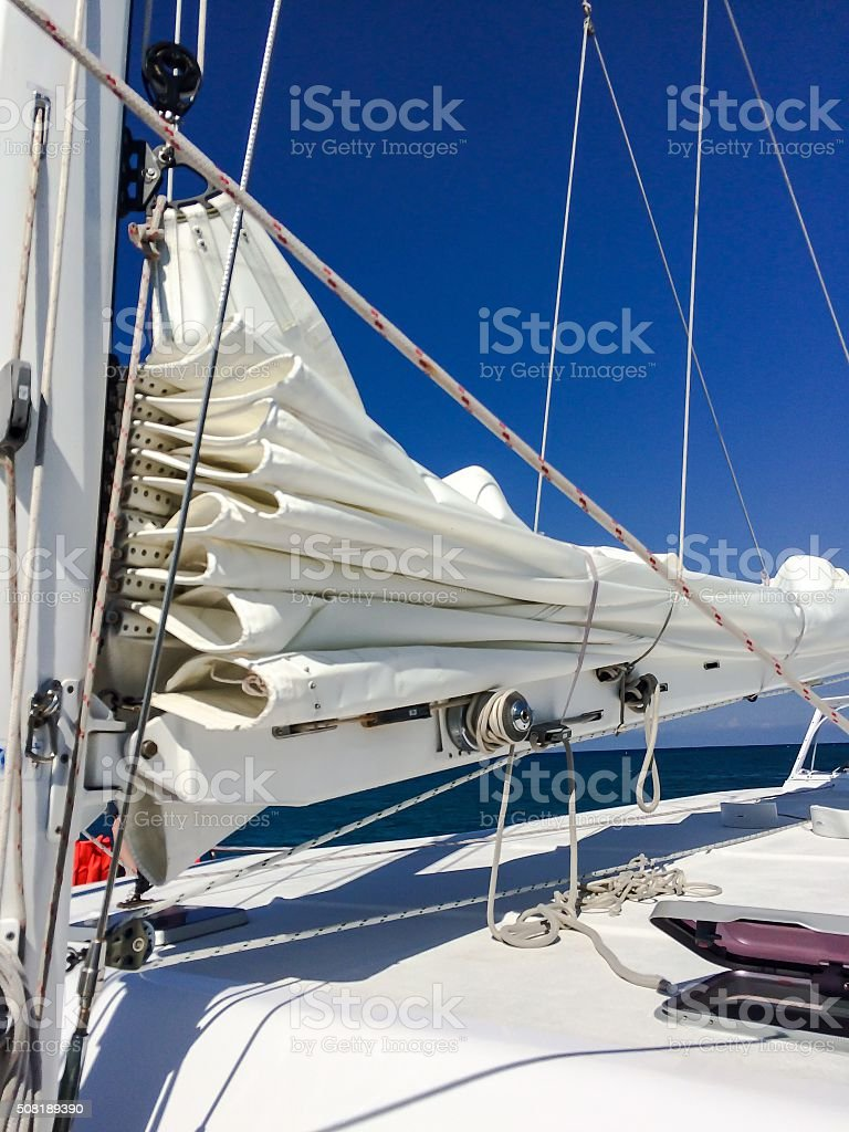 Sails down stock photo