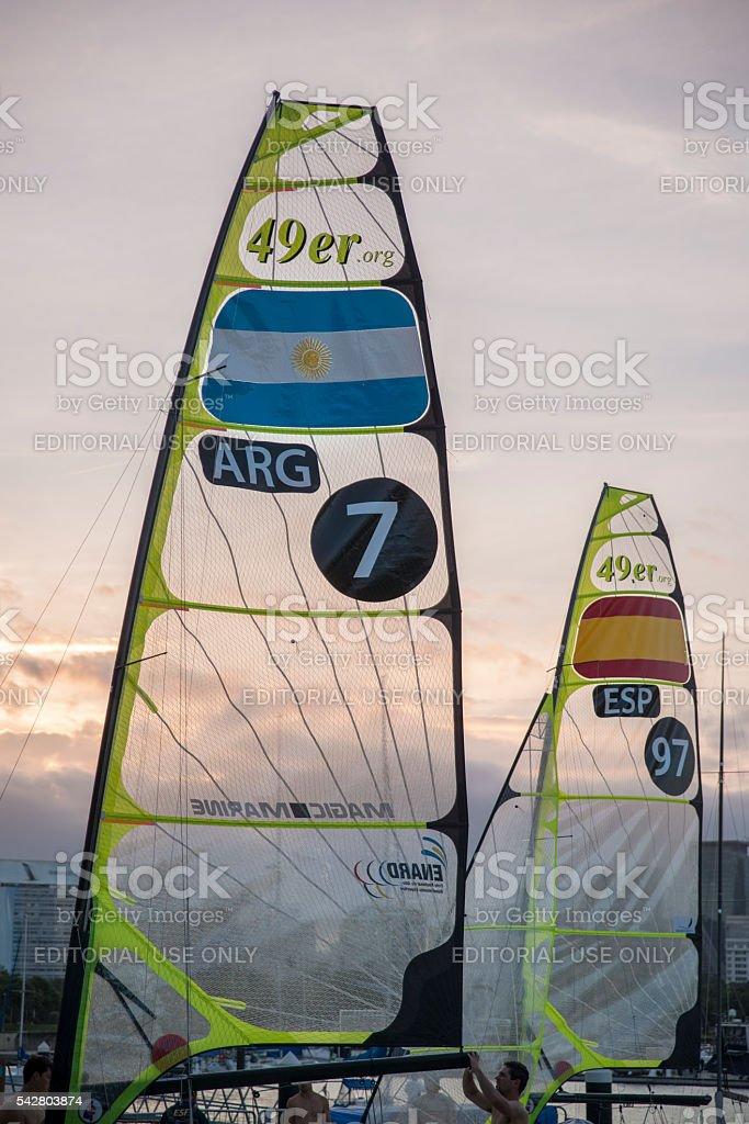 Sails of 49er sailboats royalty-free stock photo
