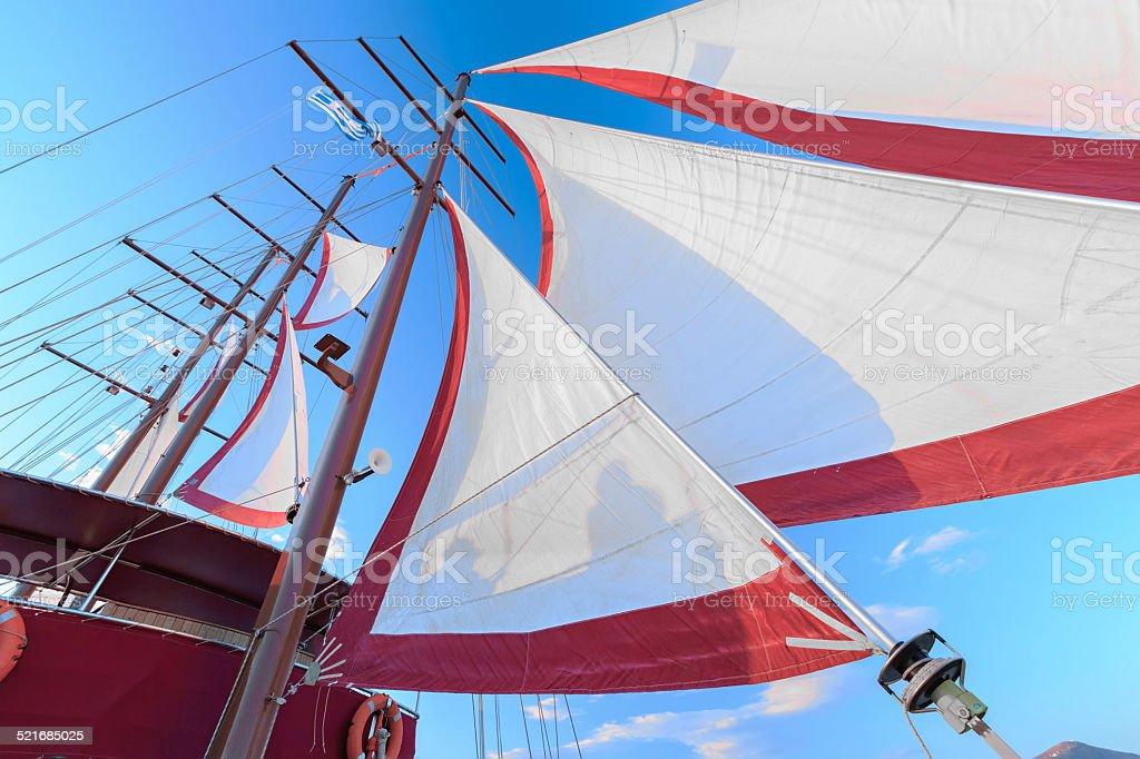 sails on a ship stock photo