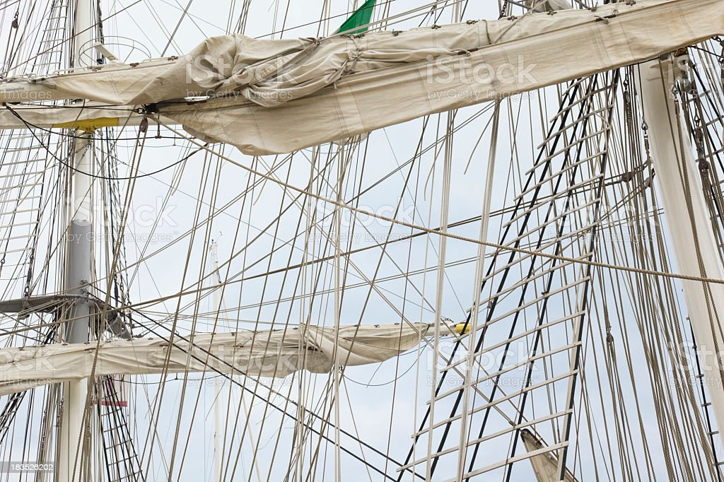 Sailship ropes stock photo