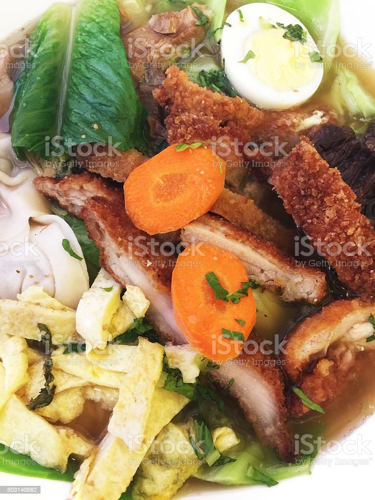 Saimin traditional noodle soup made on Kauai, Hawaii stock photo