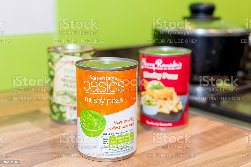 Sainsbury's Basics choice Mushy Peas Can stock photo
