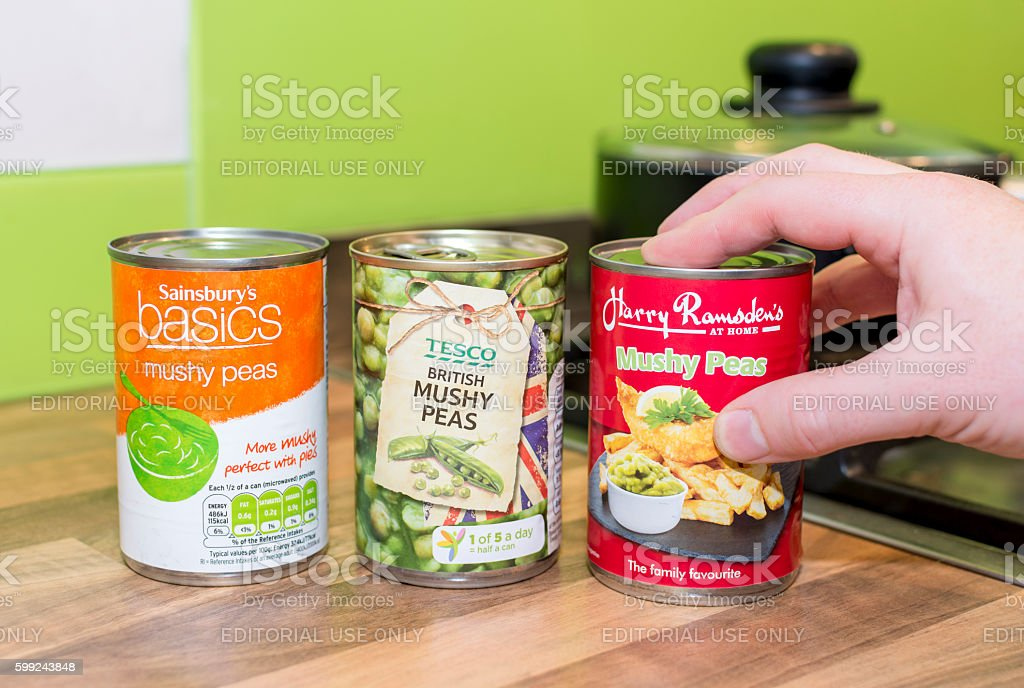 Sainsbury's, Tesco and Harry Ramsden's Mushy Peas stock photo