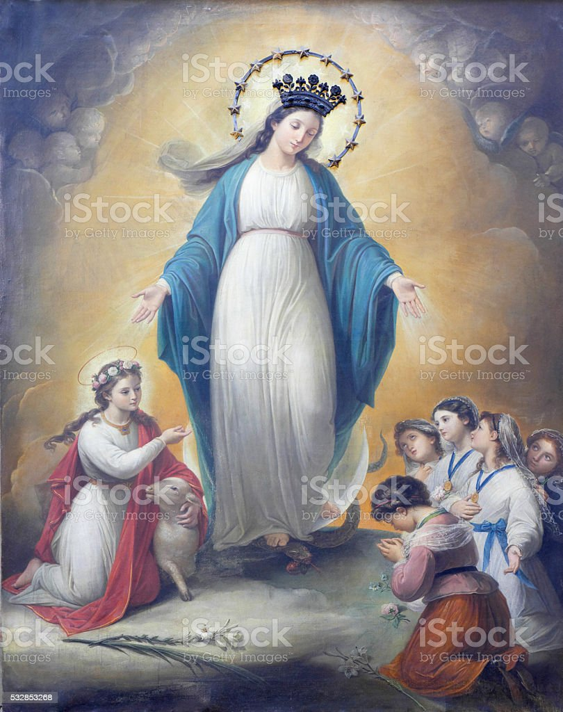 Saint Agnes and Vergin Mary stock photo