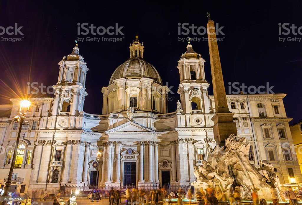 Saint Agnese in Agone basilica on piazza Navona stock photo